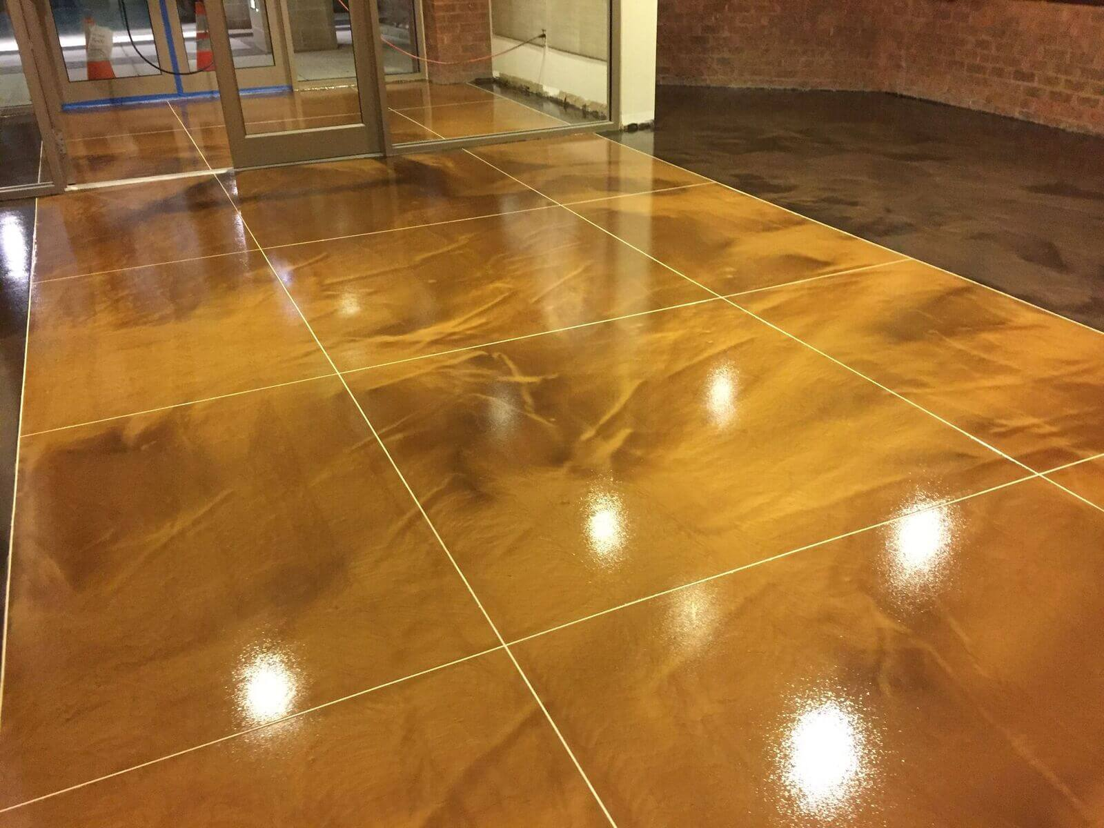 Epoxy floors rochester ny concrete flooring contractors for Stained polished concrete floor